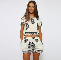 Cheap summer 2 piece sets, Buy Quality piece set directly from China 2 piece set Suppliers: Vintage Style Women summer 2 Pieces Sets Flowers Printed Casual Print O-Neck Short Sleeve Crop Tops + Elastic Waist Shorts Crop Top Und Shorts, T Shirt And Shorts, Print Shorts, Pocket Shorts, Tee Shirt, White Shorts, Cropped Tops, Cropped Pants, Black Romper