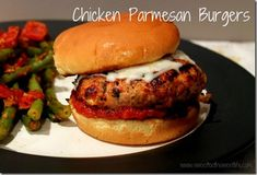"""Alyssa's review: Chicken parmesan burgers are DELICIOUS.  Click on the recipe and make.  We are going to serve a """"slider"""" version for our family 4th of July gathering."""