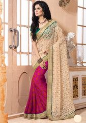 Cream & Magenta Pink Color Half Net & Half Georgette Function & Occasion Sarees : Mukti Collection YF-27394