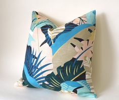 Tropical Pillow Cover / INDOOR Tommy Bahama Banana Leaf / Retro 1980's Style Pillow 18x18 20x20 22x22 Custom 13x20 14x22 14x26 14x30 Lumbar Blue Cushions, Pink Pillows, Throw Pillows, Pillow Inserts, Pillow Covers, All Covers, Blue Peach, Design Show, Fabric Samples
