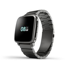 Pebble Time Steel black with metal band