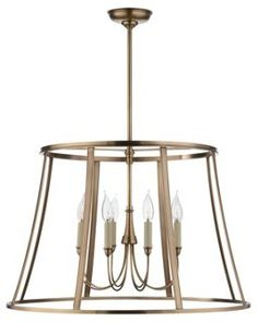 (Jesse 6-Light Pendant, Antiqued Brass $499) *** recycle an old candle style fixture and add a stripped lamp shade.  Spray with metallic paint.