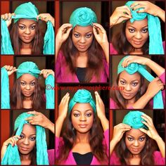 Hair Tag : How To Tie A Turban In Less Than 2 Minutes. - Glam O' Sphere .a turban is one of the latest fashion trends.how elegant it looks,it also helps during those bad hair days while adding a stylish touch.The turban Hair Wrap Scarf, Hair Scarf Styles, Curly Hair Styles, Natural Hair Styles, Tie A Turban, Turban Style, Turban Headbands, Pelo Afro, African Head Wraps