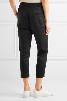 Vince - Cropped Linen-blend Pants - Black - medium
