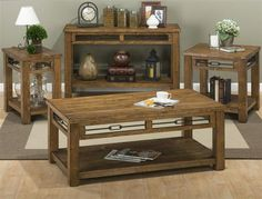 San Marcos Transitional Solid Wood Coffee Table Set