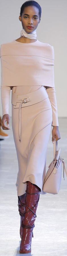 Love the sleek look of the outfit but not the scarf! #dresses #fashioninspiration #blush