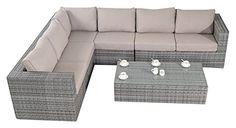 Port Royal Large Rustic Rattan Garden Furniture Corner Sofa Set - Natural