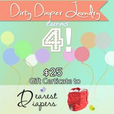 Dirty Diaper Laundry - Kim Rosas is celebrating 4 years of blogging to the world about cloth diapers!!! This woman is amazing!!