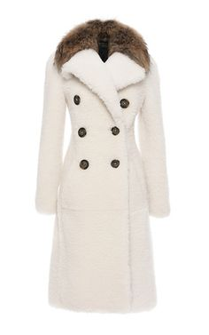 Rendered in allover shearling, this **Burberry** coat features a wide lapel with a bonded raccoon fur collar, a double breasted design with oversized front buttons, and a knee length tailored silhouette with slip pockets at the hips. Burberry Outfit, Burberry Coat, Beautiful Outfits, Cool Outfits, Shearling Coat, Fur Coat, Oversized Coat, Double Breasted Coat, Fur Fashion