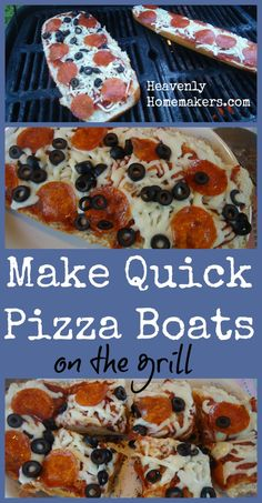 "Make a Quick Meal of Pizza Boats - On the Grill or in the oven!  Use Ciabatta bread for a wider, thinner loaf that's not quite as ""bready"" as using french bread."
