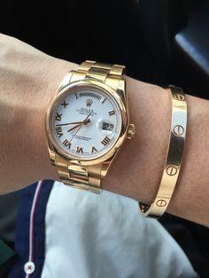 Rolex Day Date Rose Gold Oyster Strap Cartier Love Bracelet in Rose Gold