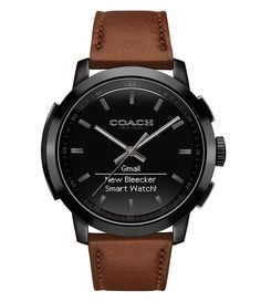 aa3f079ecff COACH BLEECKER BLACK DIAL AND BROWN SADDLE LEATHER STRAP SMART WATCH Brown  Leather Strap Watch