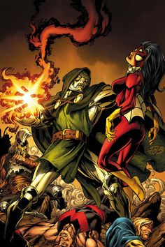 DR. Doom vs. SpiderWoman - Marvel Comics