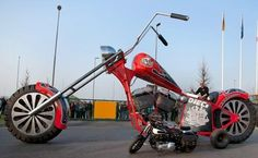 All things custom motorcycles harley davidson choppers and bobbers Custom Motorcycles, Custom Bikes, Road Train, Harley Davidson Chopper, Outdoor Sculpture, World's Biggest, World Records, Train Travel, Guinness