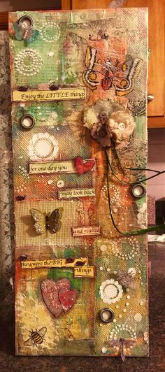 Mixed media canvas. Butterflies ladybugs dragonfly Don't forget about the little things....