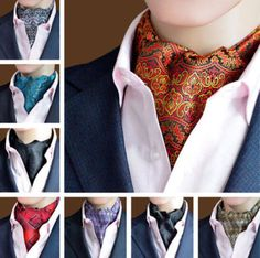 Ties Men Silk Paisley Ascot Self-Tied Cravat Neck Ties For Wedding Party Sharp Dressed Man, Well Dressed, Mens Ascot, Cravat Tie, Ascot Ties, Skinny Ties, Long Scarf, Look Chic, Stylish Men