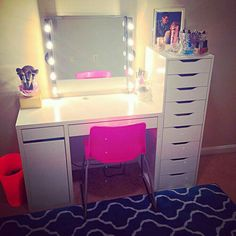 makeup vanity with lights and drawers. Vanity Setup using mostly IKEA items  totally buying these lamps doing this they re only 14 99 Home