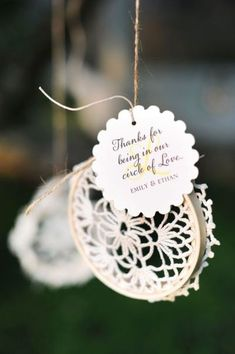 Circle of love favors... These would also be cute as mini dream catchers...