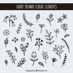 Embroidery Pattern from Hand drawn floral elements designed by freepik.com. Image Only. jwt