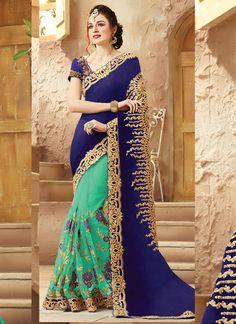 Indian Designs - Women's Attractive Looking Ethnic Blue Viscose Satin Saree, $175.00 (http://www.indiandesigns.com/womens-attractive-looking-ethnic-blue-viscose-satin-saree/)
