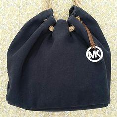 SALE Michael Kors Blue Thick Canvas Hobo Handbag Excellent Condition MK Michael Kors Thick Canvas Tote Michael Kors Bags Hobos
