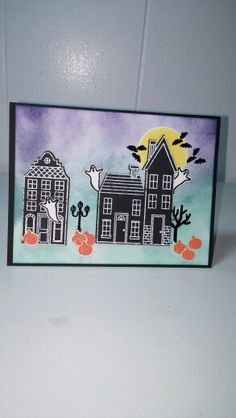 Haunted House using Stampin UP Holiday Home stamp set. Contact me to order.