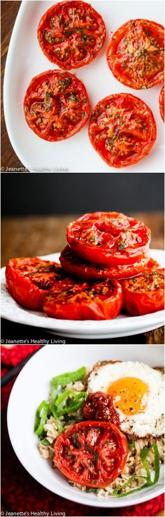 Slow Roasted Summer Tomatoes © Jeanette's Healthy Living #tomatoes #vegetarian #vegan #reciperedux