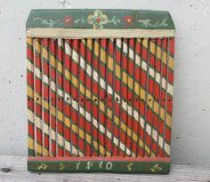 RARE Painted 1800s Antique Swedish Wood Tape Loom Brides Gift Weaving | eBay