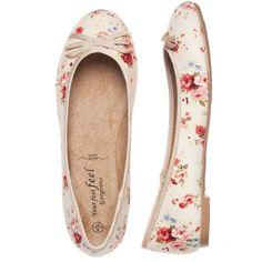 Wide Fit Pink Floral Ballet Pumps ($15) ❤ liked on Polyvore