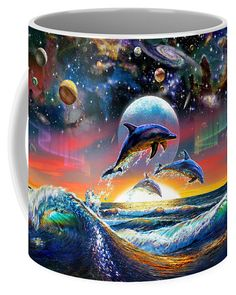 Adrian Chesterman Coffee Mug featuring the digital art Universal Dolphins by Adrian Chesterman
