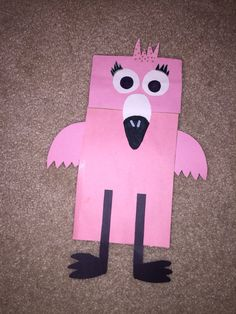Paper Bag Flamingo Puppet by me! 😝👌🏻