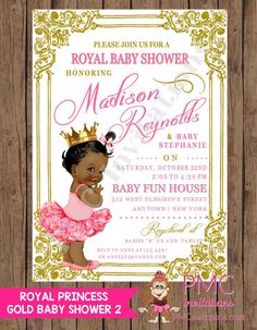 custom printed shabby chic antique vintage african american royal princess baby shower