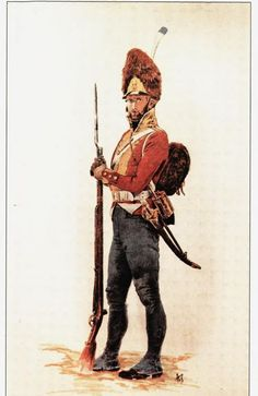 Grenadiers (Grenaderer):  Elite troops in the Norwegian army Armed with flintlock musket, bayonet, Sabre and of course grenades. It were common to see the Grenadiers line up with the Line infantry to boost the moral, but did also form their own regiments. The uniform of the Grenadiers were Bright red jackets with fold and collar of regimental color, blue pants, grey knee boots. The helmet were of bearskin with bronze sign in front, while leather straps.