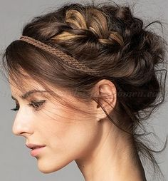braided hairstyles - braided updo with headband