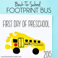 "Handprint Apple and Footprint Bus Back To School Keepsakes! Great alternative to the ""back to school"" sign."