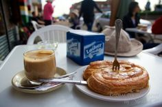 My typical breakfast...that pastry is sticky sweet and filled with cream...heaven