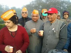 'Chai pe Charcha' with BJP  national spokesperson Meenakshi Lekhi and other party leaders at Rohini District Park in New Delhi.