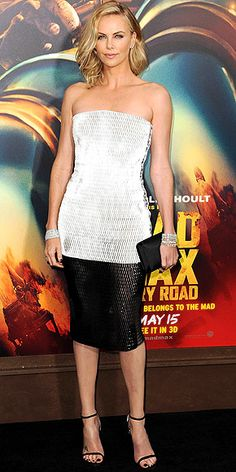 Last Night's Look: Love It or Leave It? | CHARLIZE THERON | in a black-and-white patent leather Dior dress and clutch with platinum Harry Winston jewels at the L.A. premiere of Mad Max: Fury Road.