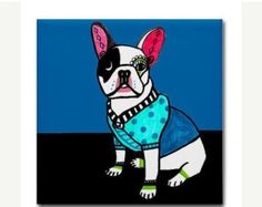 40% OFF - French Bulldog art Tile Ceramic Coaster Mexican Folk Art Print of painting by Heather Galler Dog Gift