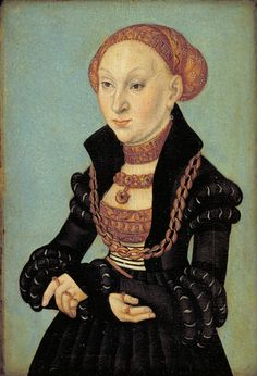 Portrait of the Electress Sibyl of Saxony by Lucas Cranach (the elder), Statens Museum for Kunst, Mode Renaissance, Renaissance Clothing, Historical Clothing, Hans Holbein The Younger, German Costume, Lucas Cranach, Renaissance Portraits, Landsknecht, German Fashion