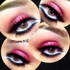 Nyx jumbo pencil in milk for highlight, cranberry color eyeshadow is from MISS ROSE palette, nyx liquid glitter eyeliner in crystal pink over my eyeshadow, fascinating white eyeliner by Mac on the bottom and MAC smolder liner on bottom with #747 lashes (x2) and individuals on the bottom