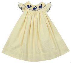 Girls Yellow & Navy Smocked Whale dress....love! http://www.connieskids.com/new-arrivals/girls-yellow-navy-smocked-whales-float-dress. $39.99.
