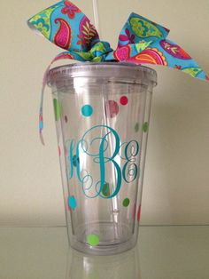 Cute Monogram Acrylic Tumbler with Matching by DancingWorkbench, $9.95