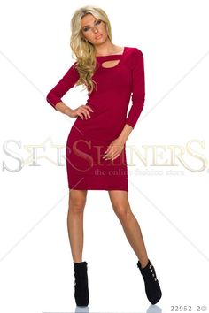 Closed Doors Burgundy Dress, cut-out bust design, long sleeves, form-fitting, elastic fabric Club Style, Burgundy Dress, Fabric Textures, Closed Doors, Fall Trends, Leather Material, Clothing Items, Beautiful Outfits, Long Sleeve