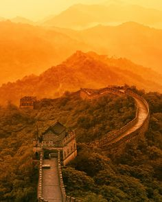 The beautiful Great Wall of China stretches off into forever in the evening light...