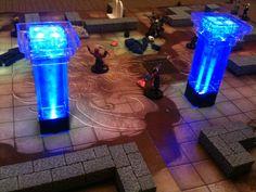 DIY miniature glowing pillars. Great for DnD.