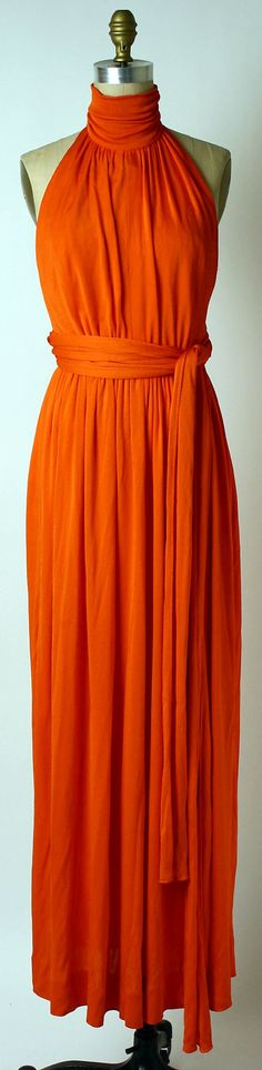 1972 orange evening gown designed by Donald Brooks