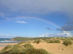 Rainbow over Crantock Beach