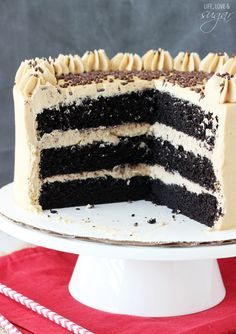Caramel Mocha Chocolate Cake. - Chocolate cake filled with a caramel brown sugar frosting and topped with a coffee buttercream