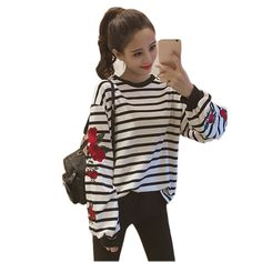 Like and Share if you want this  2017 New Spring Harajuku Hoodies Rose Floral Embroidered Loose Sweatshirt Long Sleeve Striped Women Vintage Elegant Casual Tops     Tag a friend who would love this!     FREE Shipping Worldwide     Buy one here---> http://onlineshopping.fashiongarments.biz/products/2017-new-spring-harajuku-hoodies-rose-floral-embroidered-loose-sweatshirt-long-sleeve-striped-women-vintage-elegant-casual-tops/